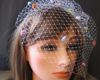 muilti color birdcage tulle veil, vintage cage veil, rainbow veil