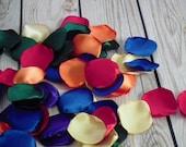 Rainbow satin rose petals; red, orange, butter, dark green, royal blue, purple, artificial rose petals, made to order