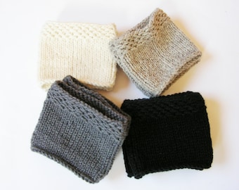 Boot Cuffs - White Light gray Dark gray Black - Hand knit from Wool Leg Warmers Boot toppers READY to SHIP!