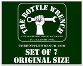 SET OF 7 - The Bottle Wrench Bottle Opener - Original - Your Choice of Cord Colors