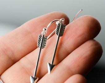 All Sterling Silver Arrow  Earrings, Dainty Earrings Jewelry Minimalist Sterling