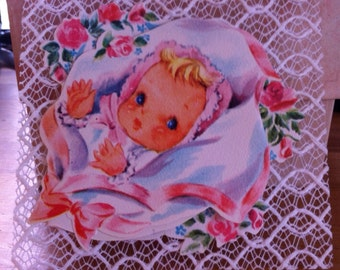 Lacies 1940's Die Cut White Starched Lace // Pop Up 3D Card : Blue Eyed Baby with Bows // Vintage Lace// Congratulations Card// Baby Girl