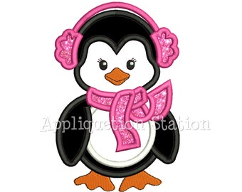 Cute Penguin Girl with Earmuffs Applique Machine Embroidery Design Christmas Holiday Winter INSTANT DOWNLOAD