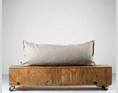 Lumbar pillow cover- natural linen cushion case - decorative pillows throw-size 14x36 or 14x26   0360