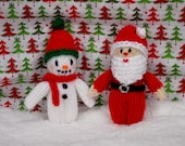 Knitted Mini Santa Claus & Frosty the Snowman