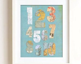 Printable - Vintage Map Numbers nursery print art kid children travel atlas theme baby boy print, baby girl print