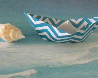 6 paper boat origami decoration photo prop art supply party decor blue chevron