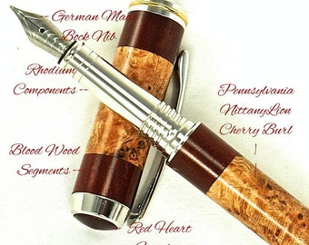 Custom Fountain Pen Beautiful Blood Wood and Cherry Burl with Red Heart Finial Rhodium and Gold Titanium Hardware 672FPB
