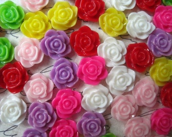 Resin Cabochon / Cabochon Flower Rose / 10 pc Mixed Lot 11mm Resin Cabochon Rose Flowers.. Perfect for Rings, Bobby Pins and more