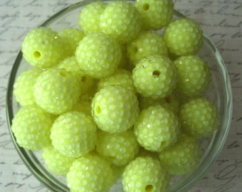 Yellow Disco Ball Bead, Rhinestone Bead, 10 pcs, 20mm Bumpy Chunky Necklace Bead, Gumball Beads, Bubblegum Bead, Acrylic Bead