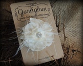 Shabby ivory flower, bridal hair clip, Shabby Chic, Frayed, Flower Girl hair clip