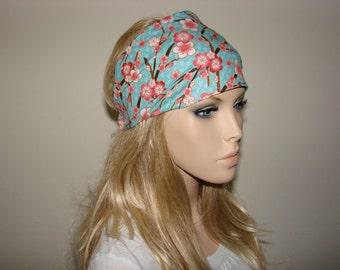 Floral Blossom Head Wrap, Blue Pink Head Scarf, Wide Woman Headband, Turban Headband, Yoga Headband, Woman tribal boho bandana headband