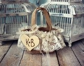 Flower girl-bag-basket-burlap-rustic-shabby-western-country-lace-pink-burlap bag-wedding-personalized-custom-rustic bride-barn wedding
