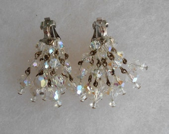 Sparkling waterfall vintage Earrings by Laguna, Sparkling Chandelier Waterfall, Silver Plated, 7 Strands of Dangle of Faceted Crystals
