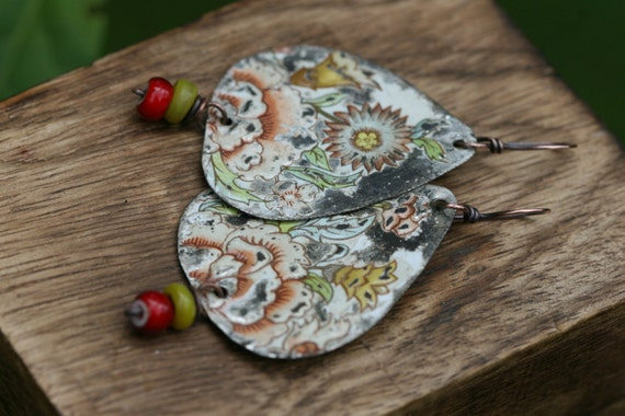 Rustic Bohemian Tribal Recycled Flourished earrings- vintage tin, assemblage,organic,garden,earthy,resin jewelry,upcycled artisan,tribal