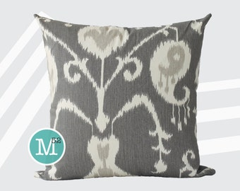 Java Ikat Grey Beige Pillow Cover Sham - 18 x 18, 20 x 20 and More Sizes - Zipper Closure - sc1820