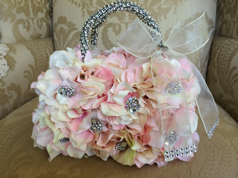 Flower Girl Bouquet Or Basket : Blush flower girl basket purse bouquet keepsake