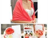 BRIGHT CORAL PASHMINA Scarf. Pashmina scarf. Pink PAshmina. Bridal Shawl. Bridesmaid gifts. Wedding Favor. Pashmina Shawl.