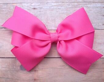 5 inch bright pink hair bow - 5 inch pink hair bow, 5 inch bow, large pink bow, pinwheel bow, girls hair bows, toddler bows, girls bows
