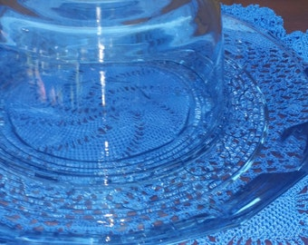 Vintage Princess House Ice Blue Heritage Crystal Cheese Tray