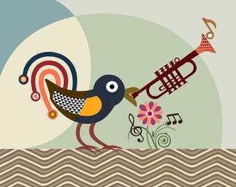Abstract Bird Art, Original Bird Art, Bird Art Print, Modern Bird Art, Bird Poster Art Print, Pop Art Bird, Trumpet Art Decor