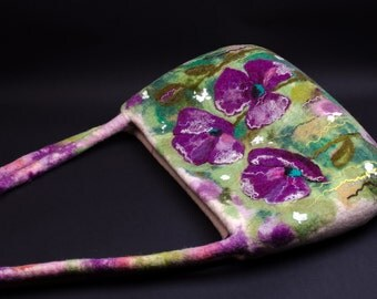 Designer handbag boho style Purple flower