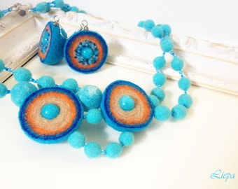 Blue Necklace and earrings felted beaded wool
