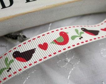 Robin Ribbon, Red Robin Ribbon, Christmas Ribbon, By the Metre, 16mm, Red