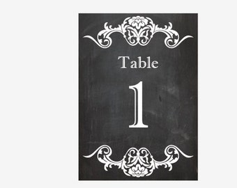 printable Chalkboard Table Numbers digital chalk board wedding table centerpieces DIY print at home