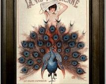 Art Deco Peacock Art Print 8 x 10 - French Paris - Parisienne - Art Nouveau - Flapper - Jazz Age Roaring 20's