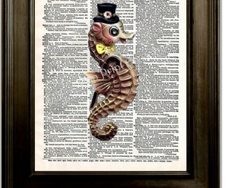 Retro Kitsch Seahorse Art Print 8 x 10 on Dictionary Page - Altered Art Collage