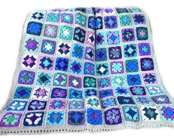 Crochet afghan crochet blanket handmade blanket granny square afghan grey blanket lavender blanket blue blanket,  MADE TO ORDER