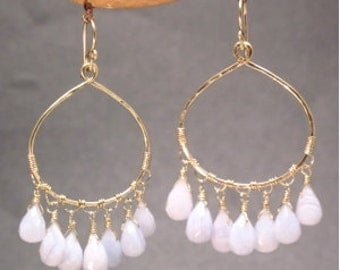 Hammered drop hoop with choice of stones Rio 3