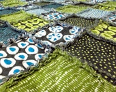 Rag Blanket for Adult Teen or Child - Bold Blue Green Quilt