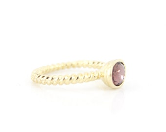 Simple Bright Gold-tone Faceted Purple Stone Ring,Size selectable,C4