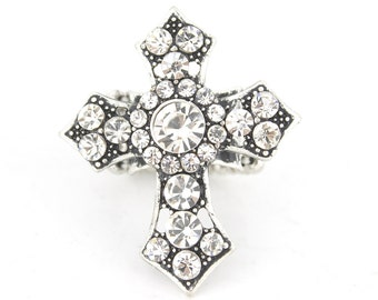 Vintage Feel Silver tone Full Crystal Stretchy Band Cross Ring