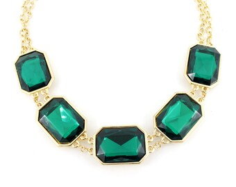 Gorgeous Gold-tone Green/Red Rhinestone Double Chain Statement Necklace