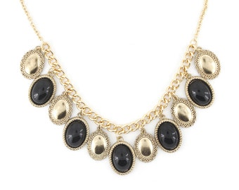 Simple Gold tone Black Beads Dangle Statement Necklace,R2
