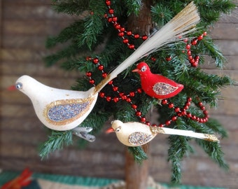 Vintage Clip On Bird Tree Ornaments Christmas White and Red Feather Tails TLC Primitive Farmhouse