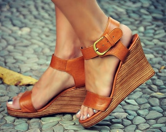 DREAMER. Leather wedges  / women shoes / high heels / leather shoes / wedge shoes / boho. Sizes 35-43. Available in different leather colors
