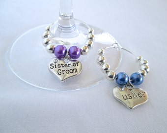 Wine Glass Name Tags, Wine Glass Charms, Wine Glass Gifts,  Wedding Table Decoration, Champagne Glasses, , Bride and Groom Gift,