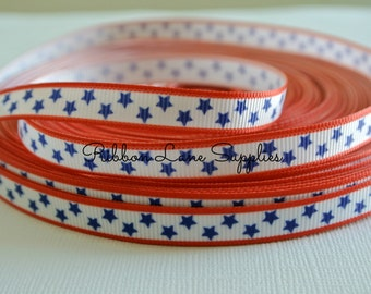 "3/8"" Ribbon by the Yard Stars-Red White Blue printed grosgrain-USA hair bows, sewing, wholesale by Ribbon Lane Supplies on Ets"