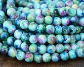 Mountain Jade Beads, Teal Blue Mix, 6mm Round - 15.5 Inch Strand eMCJ-113-6