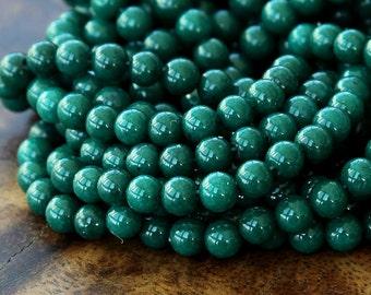 Mountain Jade Beads, Dark Hunter Green, 4mm Round - 16 Inch Strand - eMJR-G13-4