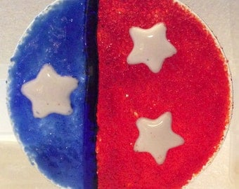 RED WHITE & BLUE NightLight Fused Glass Night Light
