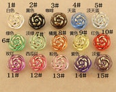 6 pcs 0.51~0.98 inch Transparent Color Rose Flower Crystal Acrylic Resin Shank Buttons for Coats Sweaters