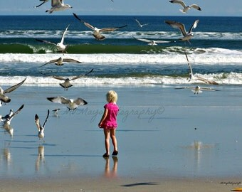 Blonde On The Beach / Seagulls / Girl With Sea Gulls / Little Girl On Beach / Free US Shipping