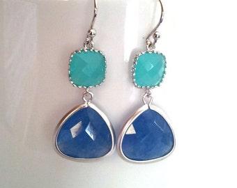 Blue Earrings, Wind Blue Wedding Earrings,Drop, Dangle, Glass Earrings, bridesmaid gifts,Christmas Earrings,christmas gift