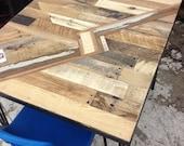 Kitchen table lightning bolt pattern reclaimed wood