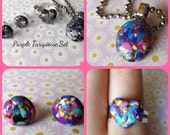 Purple Turquoise Jewelry Set polymer clay